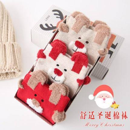 圣诞袜女中筒袜堆堆袜秋冬季棉袜可爱